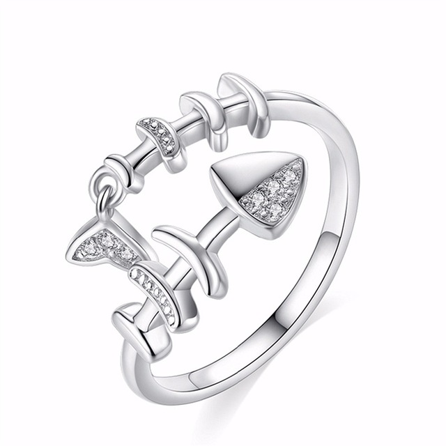 Small Fish 925 Fish Bone Ring Female Personality Tide Ring Simple