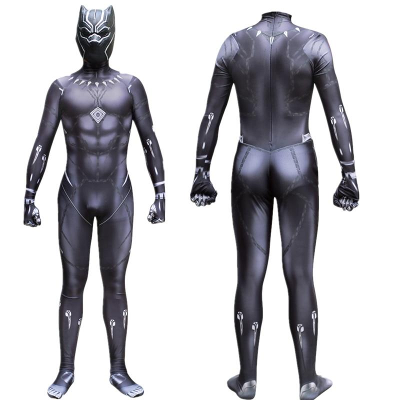 Avengers 4 Endgame Black Panther Cosplay Kostuum Jumpsuit Superhero Halloween Kostuums Zentai Pak Party Latex Masker Voor Mannen Jongens