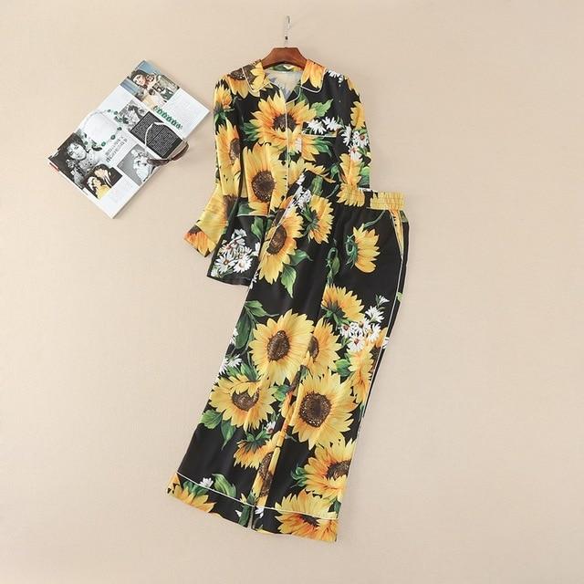 2017 Europa Y Estados Unidos Las Mujeres de Verano Y Primavera Nuevo traje de La Flor Impreso Camisa de Manga Larga + Pantalones Sueltos Dos trajes