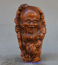 Crafts statue China Folk Boxwood Hand Carved Longevity Immortal God Shou Star Statue Figurine