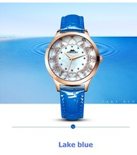 2018 new MARGUES brand Quartz watch for women Aesthetic heart-shaped rhinestone fashion watches Slub pattern leather strap 049