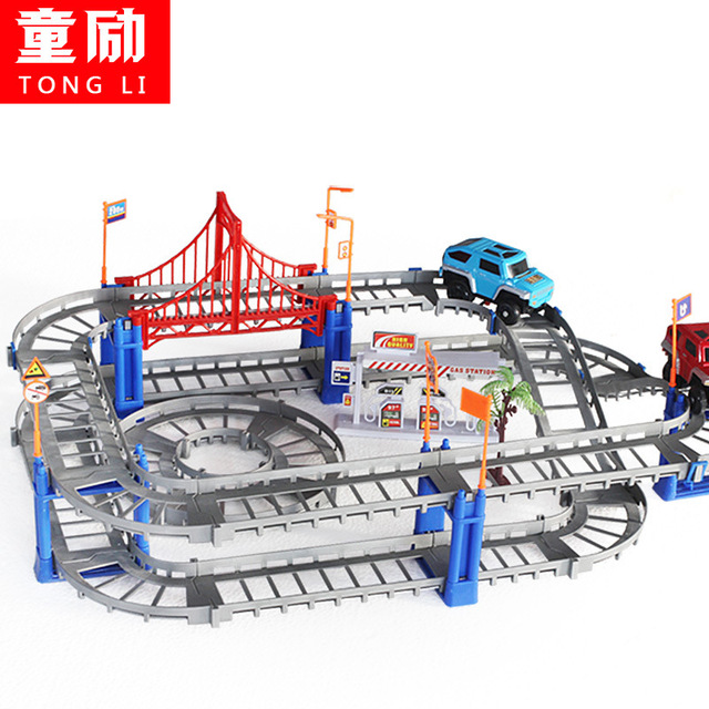 Children toys electric Thomas rail car kids train track model slot toy baby racing car double orbit car birthday gift 73PCS 1208