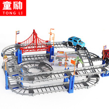 Children toys electric Thomas rail car kids train track model slot toy baby racing car double orbit car birthday gift 73PCS 1208