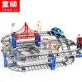 Juguetes para niños niños modelo de vía del tren Thomas coche de carril eléctrico ranura juguete del bebé órbita doble regalo de cumpleaños del coche de carreras de coches 73 UNIDS 1208