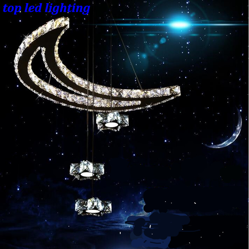 Modern Luxurious Stars and The Moon Led Crystal Pendant Light For Living Room Dining Room Children's Room AC 80-265V 1167 modern fashion luxurious rectangle k9 crystal led e14 e12 6 heads pendant light for living room dining room bar deco 2239
