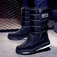 2019 Men Boots platform snow boots for men thick plush waterproof slip-resistant winter shoes Plus size 34 - 47