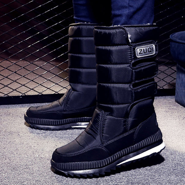 2019 Men Boots platform snow boots for men thick plush waterproof slip-resistant winter shoes Plus size 34 – 47