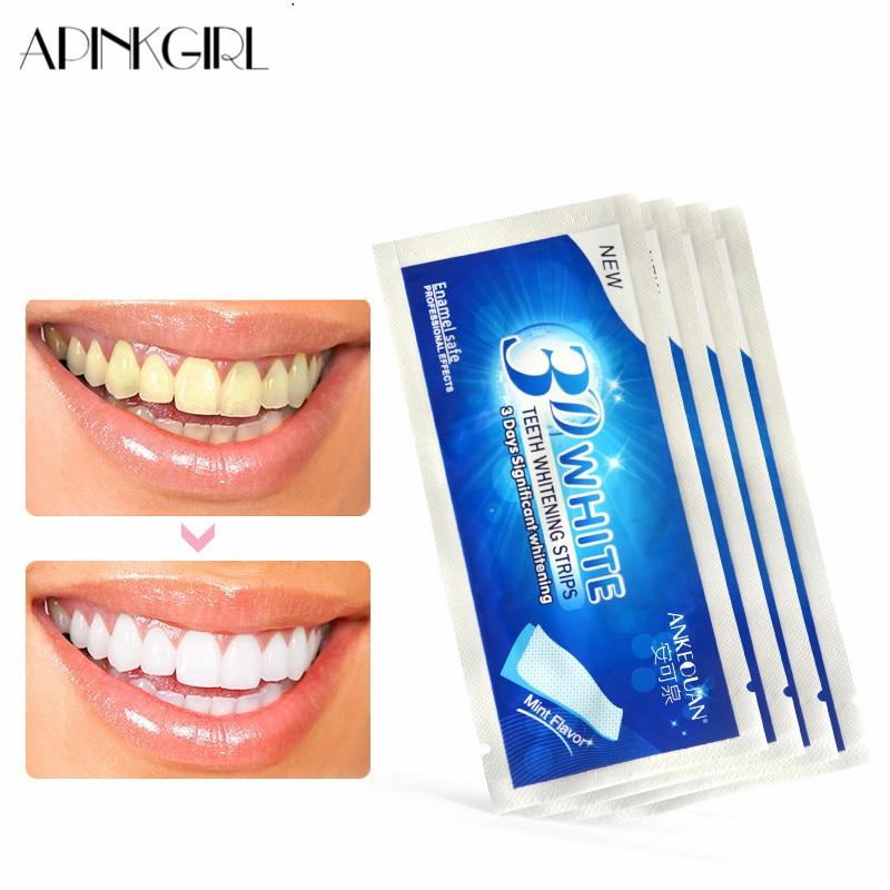 APINKGIRL 7pcs 3D Pearly White Teeth Gel Strips Bleaching Teeth Stickers Treatment New Crest Teeth Whitening Strip Dental Care