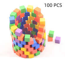 100PCS/Set Wooden Blocks Solid Wood Cube Early Educational Toys DIY Woodwork Craft Puzzle Designer Interactive STEM Toys For Kid 100pcs colorful wooded cube building blocks early educational blocks set for kids play intelligence toys