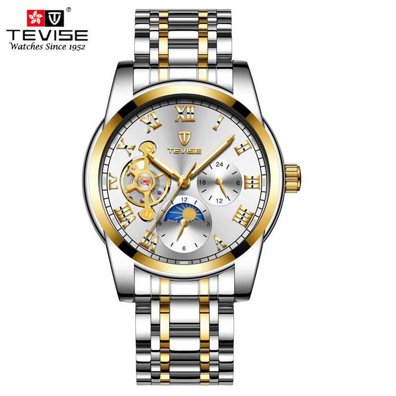 Tevise Luxury Mechanical Watches Men Tourbillon Automatic Self Wind Man Moon Phase Stainless Steel Luminous Wristwatch 9005 цена