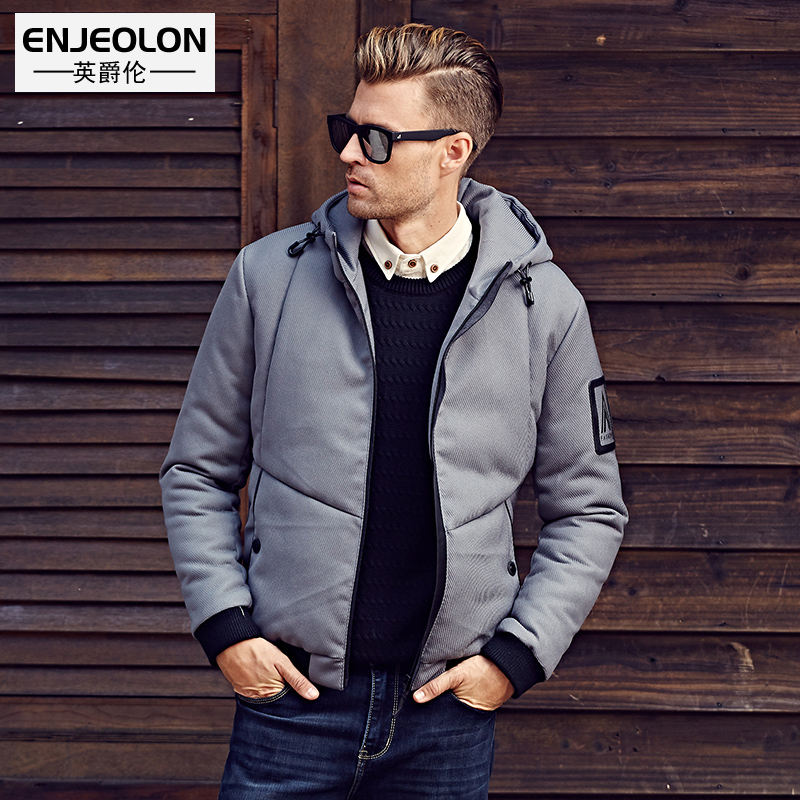 Enjeolon Brand Cotton Padded Hooded Jacket Men windproof   Parka   Men Clothing Thick Quilted short black Coat Mens Hoodies WT0253