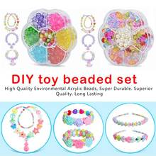 DIY Colorful Acrylic Beads Girls Puzzle Set Toy Jewelry Necklace Bracelet Handmade String Bead Girl Children Making Toys цена
