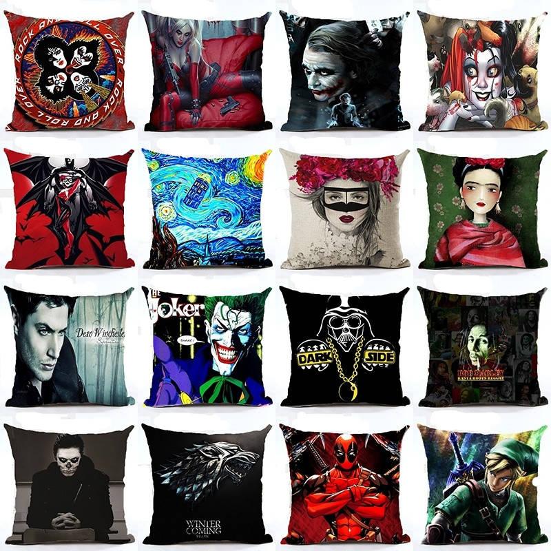 decorUhome Harley Quinn Batman Joker Cushion Cover Frida Carlo Linen Pillow Case Bedroom Home Decorative Euro Throw Pillow Cover