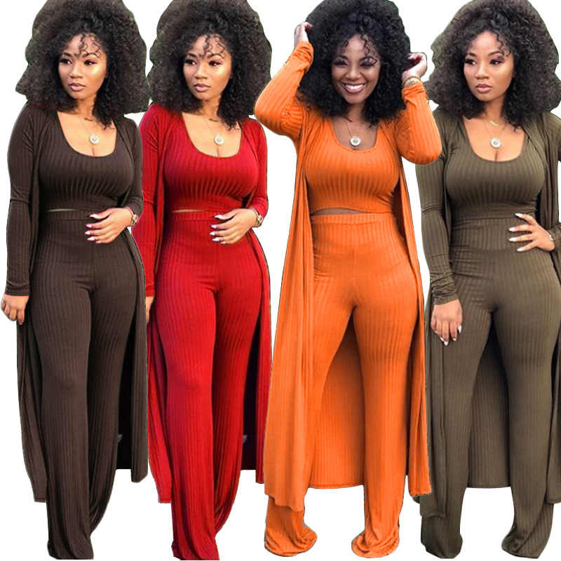 2019 New Women's Tracksuit Winter Autumn Knitted Long-sleeved Blazer Coat Tank Long Pants Three Piece Sets Outfit Overalls K9294