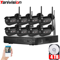 Yanivision Plug Play 8CH NVR Wireless CCTV System 720P HD H 264 IP66 Mini Home Security