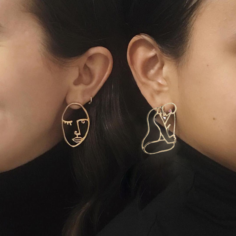 2 Styles ! Personalized Cool Face Stud Earrings Vintage Chic Body Statement Big Earrings Girls Bijoux Gold Silver