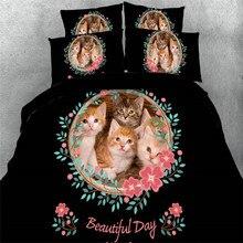 cotton soft cute cats flower print duvet cover 3d black bedding sets teens kids boys and