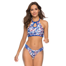 New Sexy High Neck Bikini Women Swimsuit Blue Floral Print Bathing Suit S-XL Girl Backless Halter Swimwear Micro Bikini Set sexy halter neck ethnic print striped women s bikini set