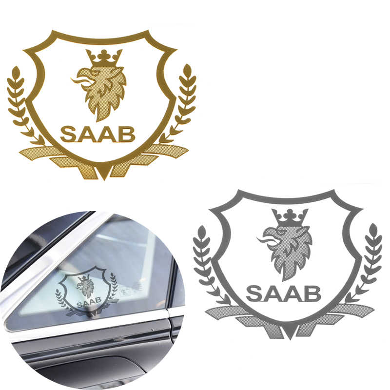 2 unids/lote oro/plata excelente 3D metal coche pegatina motores emblema insignia para Saab 93 95 9-3 9-5 900 Auto 9000 estilo Accesorios