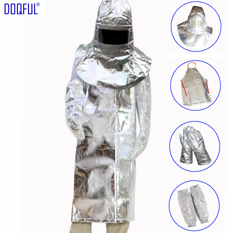 1000 Degree Thermal Radiation Suit Aluminum Foil Helmet Apron Gloves Arm Oversleeve Safety Heat Resistant Fire Retardant Casting