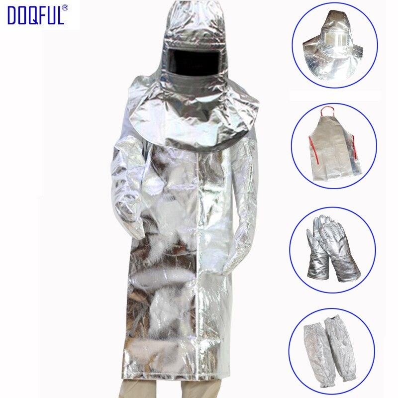 1000 Degree Thermal Radiation Suit Aluminum Foil Helmet Apron Gloves Arm Oversleeve Safety Heat Resistant Fire Retardant Casting