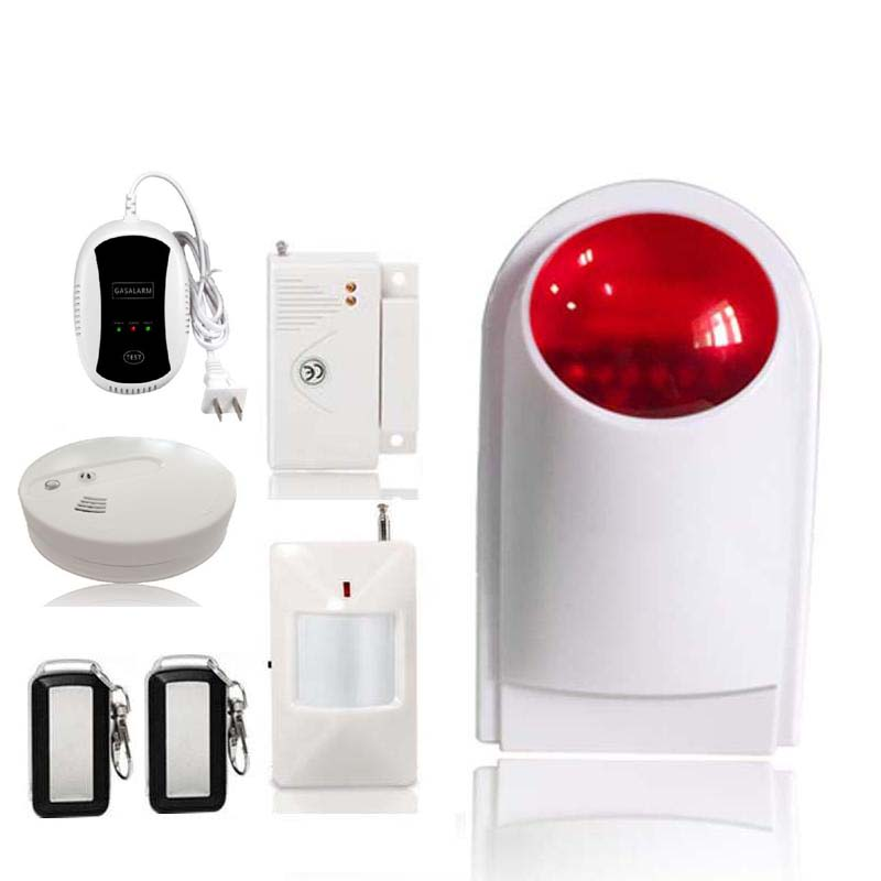 433MHz Home Security Alarm Kit Wireless Outdoor Strobe Siren Door Sensor PIR Motion Detector Heat Smoke Sensor Remote control 6 hot japanese hair scissors barber scissors hairdresser razor hairdressing scissors professional hair cutting thinning shears