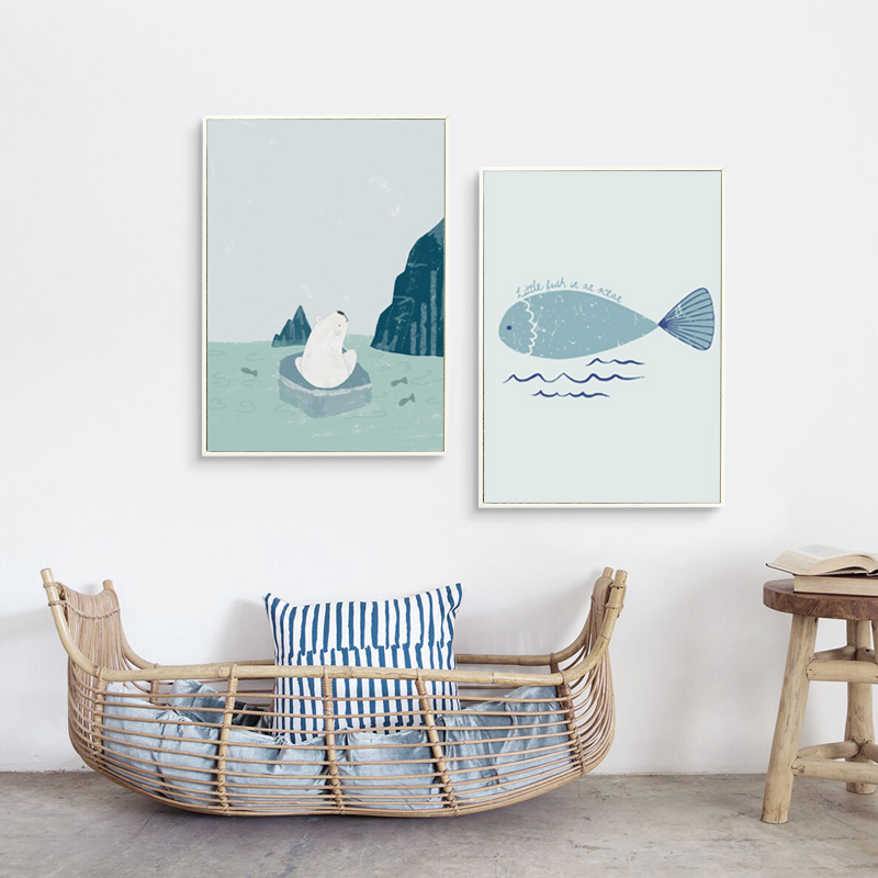 Bianche Wall Nordic Simple Kawaii Little Arctic Bears and Fish A4 Canvas Painting Art Print Poster Picture Home Wall Decor Mural