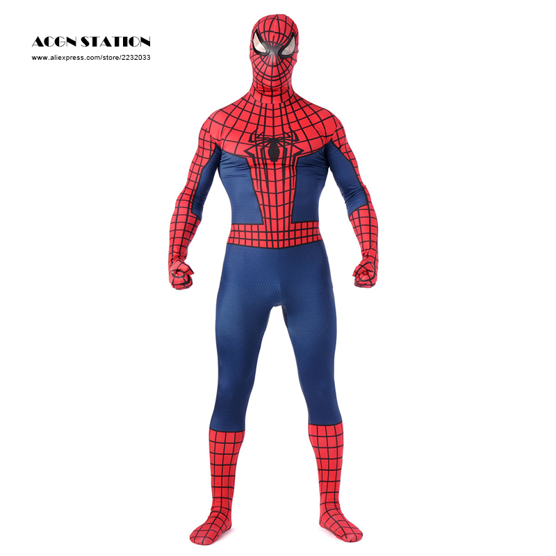 2017 Spider Men Costume Red Zentai Suit Cool Costumes Men Halloween 2016 Boy Full Body Venom Spiderman Jumpsuit