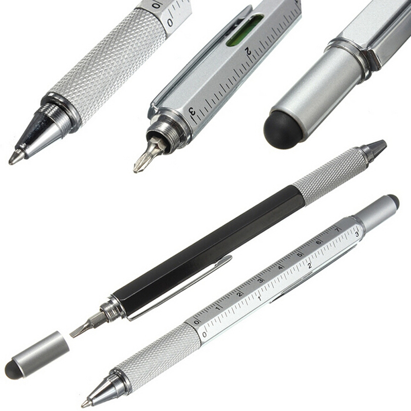 Hot!!! Multifunction 6 In 1 Metal Pen Tool Ballpoint Pen Screwdriver Ruler Spirit Level With A Top And Scale 7 in 1 tech multitool pen with ruler bottle opener phone stand ballpoint pen stylus pen and flat and phillips screwdriver bit