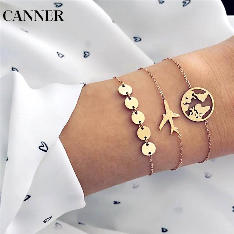 Canner World Map Airplane 3pcs Charm Bracelets For Women Creative Geometric Gold Metal Sequins Cuff Bracelets Set Jewelry R4 Be Novel In Design