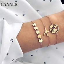 CANNER World Map Airplane 3PCS Charm Bracelets for Women Creative Geometric Gold Metal Sequins Cuff  Set Jewelry R4