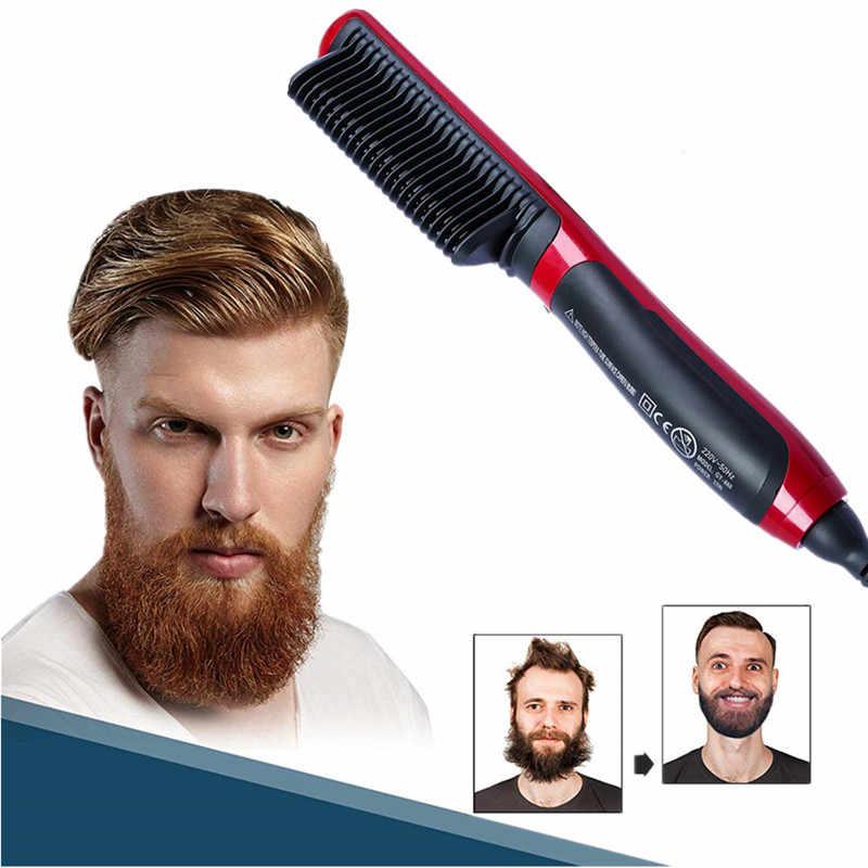 גברים שיער Styler וזקן מחליק מברשת חשמלי שיער זקן מיישר מסרק איש מהיר חשמלי מחומם מגהצים טיפוח כלי