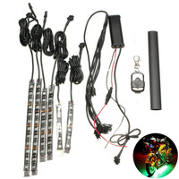 Audew 6PC RGB LED Universal 15 Color Motorcycle Glow Flexible LED Strip Light Lamp W Remote