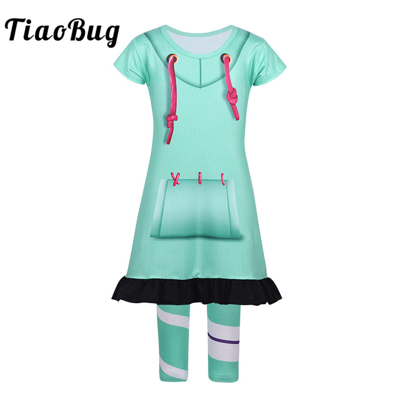 TiaoBug Kids Girls Carnival Cosplay Party Halloween Costume Set Children Short Sleeve Digital Printed Top Dress with Leggings