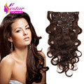 Clip in Human Hair Extensions Wavy Indian Virgin Hair Clip Ins Body Wave #2 Dark Brown 100% Human Hair Clip In Hair For Clip Ins