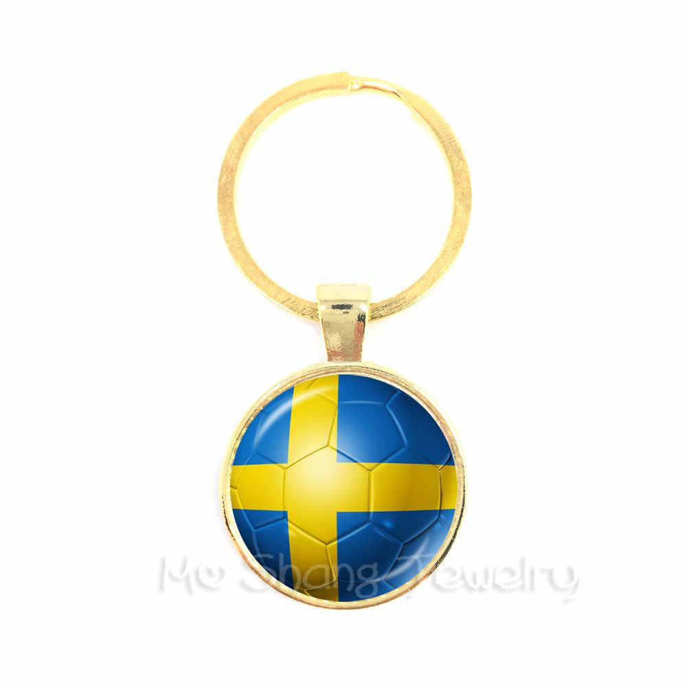 2018 Copa do mundo Chaveiros Senegal, Sérvia, Suíça, Suécia, Portugal, nigéria E Assim Por Diante Da Bandeira Da Nação de Futebol Chaveiro