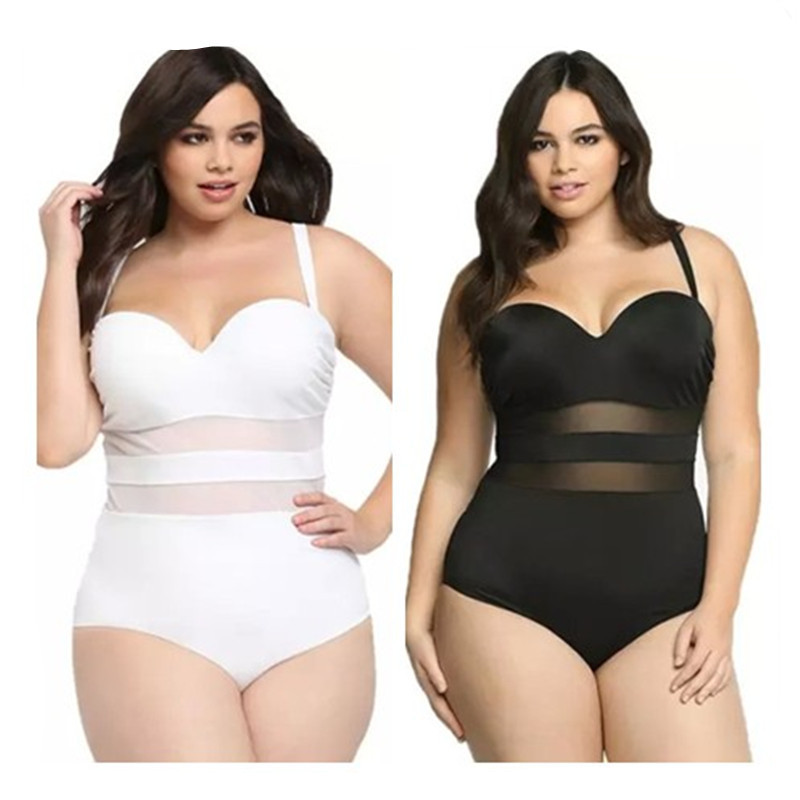Korean Swimwear Windsurf Surfing Swimsuits For Women A Full Swimsuit Vintage Pure Color Fat Woman Adds Patchwork Polyester