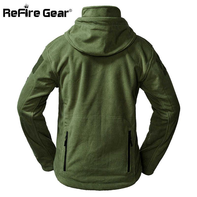 bae4c0f172f ... ReFire Шестерни Тактический Армии флисовая куртка Для мужчин теплые  Polar мульти-карман куртка в стиле ...