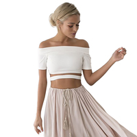 2018 sommer 95% Baumwolle t-shirt frauen crop top kausal fashion short solide slash neck one direction haut femme T1585L