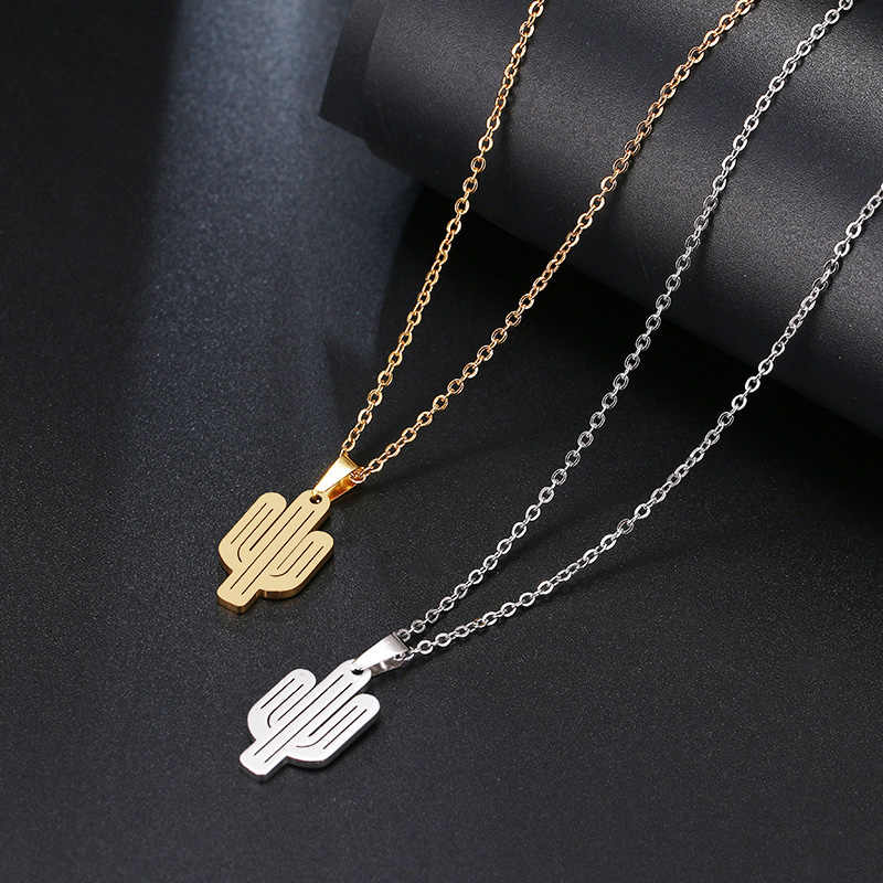 DOTIFI Stainless Steel Necklace For Women Lover's Gold And Silver Color Cactus Pendant Necklace Engagement Jewelry