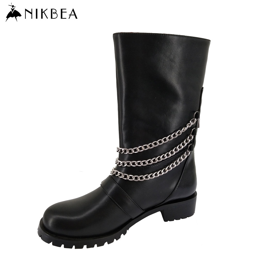 Nikbea 2016 Autumn Winter Punk Western Boots Cowboy Large Size Chunky Heel Riding Boots Leather Long Mujer Black Bota Feminina nikbea vintage western boots cowboy ankle boots for women pointed toe boots winter 2016 autumn shoes pu chunky low heel booties