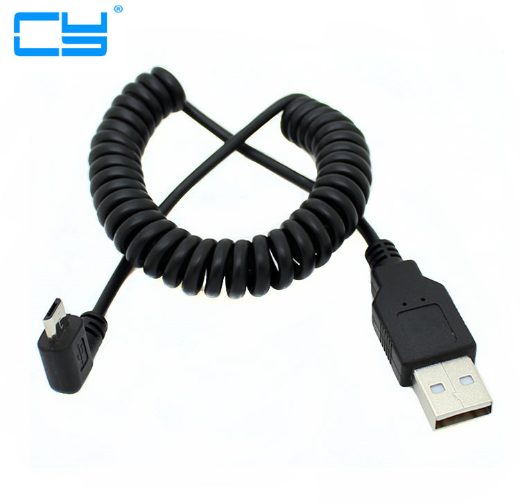 90 degree left elbow Spring Coiled USB 2.0 Male to Micro USB Data Sync fast Charger 2A Cable for Android mobile phones usb 2 0 male left angle 90 degree to micro usb male left angle 90 degree data charging cable for samsung s6 s7 note5 20cm 100cm