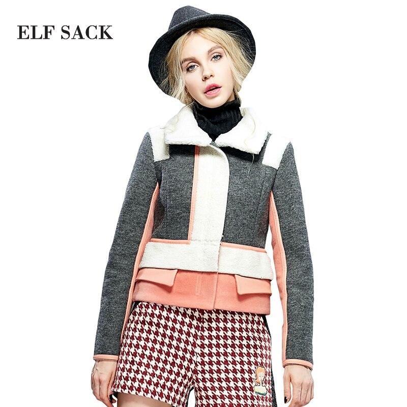 Elf SACK winter rose female berber fleece wadded jacket fashion cotton-padded jacket haver sack пальто