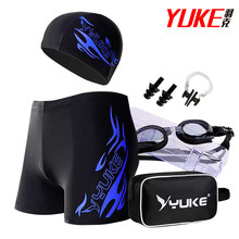 Yuke Men Swim Trunk Suit Large Size Quick-drying Swimming Shorts Goggles Swim Caps Set Retail and Wholesale N0325(China)
