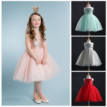 2016 New Children Princess Baby Girls Clothing Dress Sequins Tulle Flower Party Ball Gown Formal Wedding