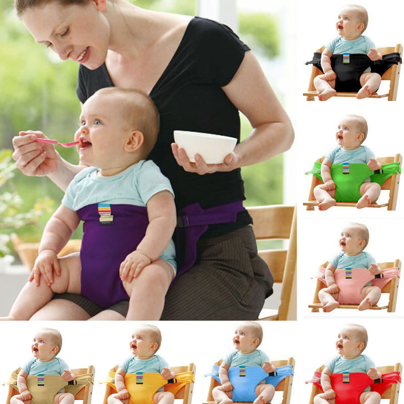 Foldable Baby Dining Chair Stretch Wrap Safety Belt Seat Lunch Chair Seat Portable Feeding Chair Harness Baby Booster Seat