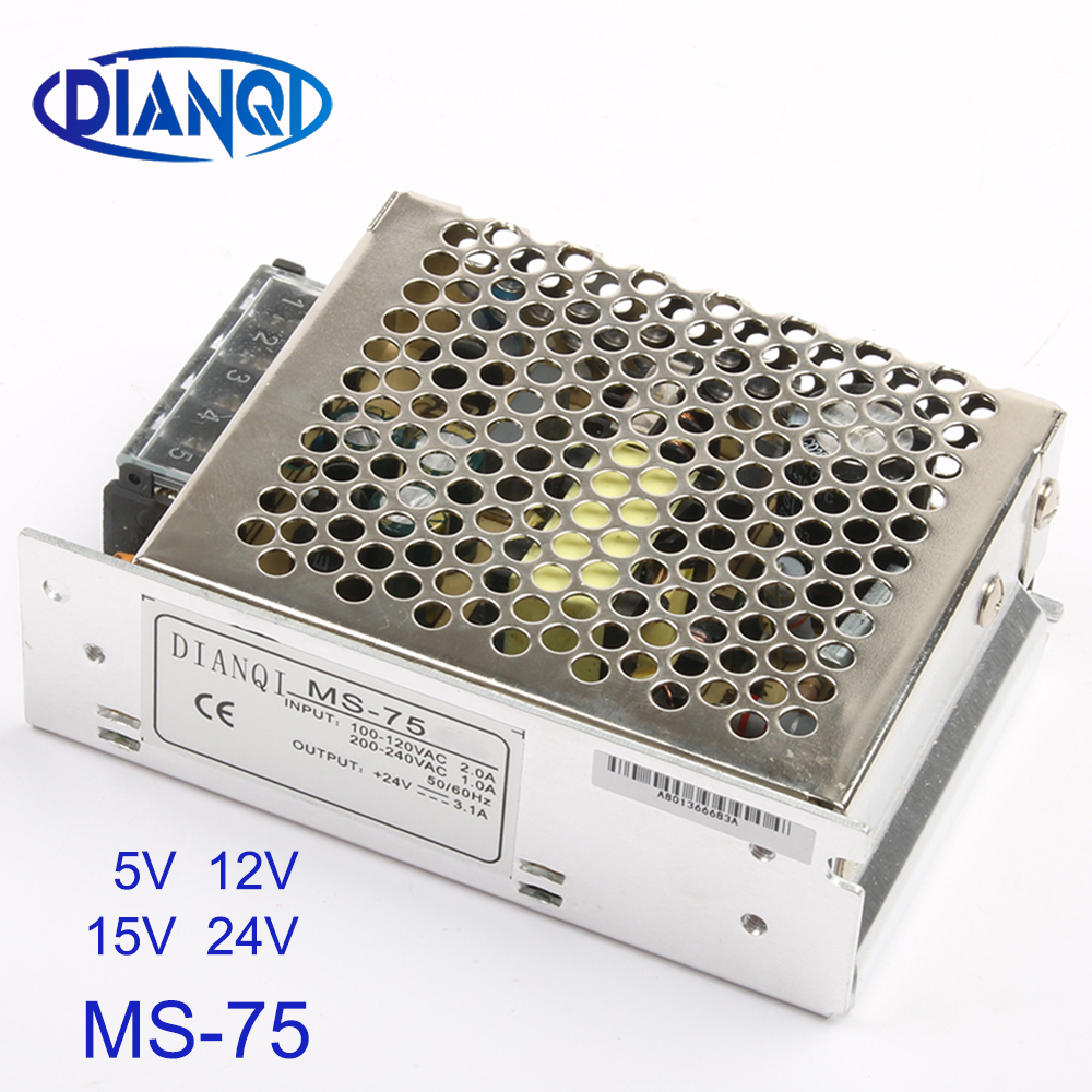 DIANQI MS-75-5 MS-75-12 MS-75-24 switching power supply unit dc voltage regulator MS-75w 5v 12v 15v 24v mini size din led ac dc image