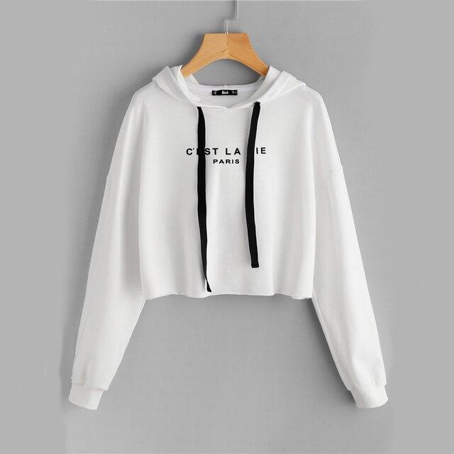 Women's White Drop Shoulder Raw Hem Crop Hoodie Letter Print Long Sleeve  Casual Pullovers Sweatshirt With