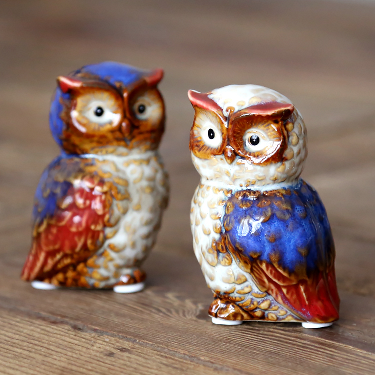Owl miniature furnishings a pair of high temperature color glaze ceramic decoration household tabletop gifts coloured ceramic