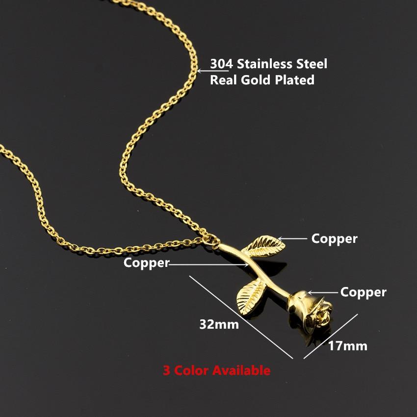 Rvs Chain Gold Rose Bloem Charme Ketting Hanger Vrouwen Choker Boho